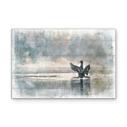 Flappy Duck in Pastel Watecolor Art Print on Wood with Faux Plank Lines
