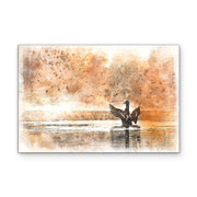 Flappy Duck in Rustic Orange Watecolor Art Print on Wood