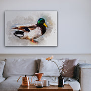 Lonely Watercolored Duck Art Print on Wood