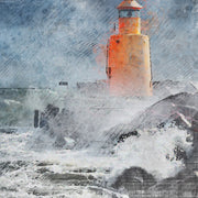 Watercolor Lighthouse in Storm Art Print on Wood