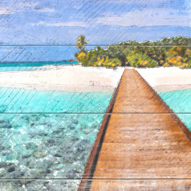 Watercolored Island Pier Art Print on Wood with Faux Plank Lines