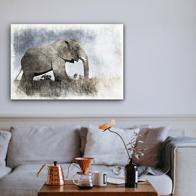 Image of  Elephant in Pastel Serengeti Art Print on Wood