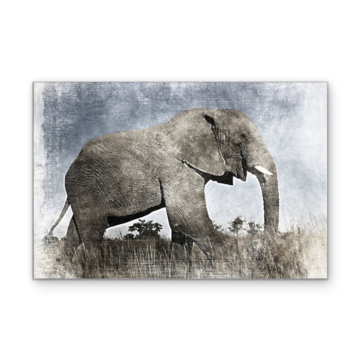 Elephant in Pastel Serengeti Art Print on Wood