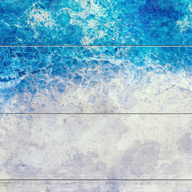 Abstract Oceanview Art Print on Wood with Faux Plank Lines