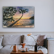 Sunset Palms in Watercolor Art Print on Wood