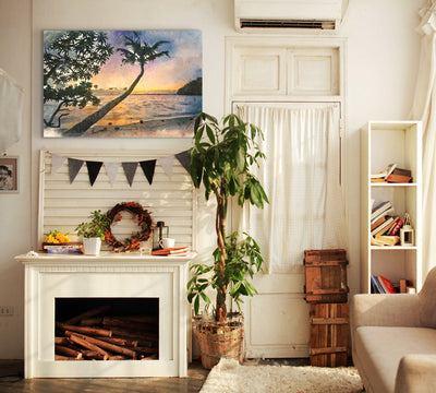 Image of  Sunset Palms in Watercolor Art Print on Wood