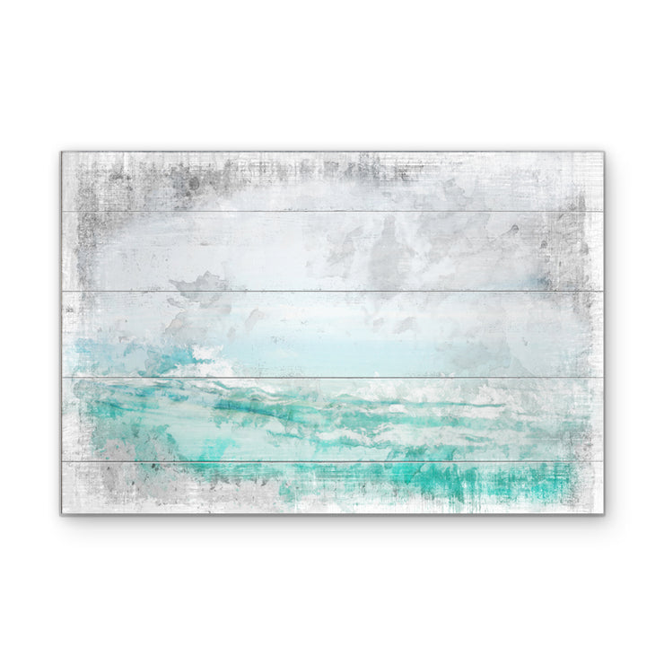Ocean Breakout Art Print on Wood with Faux Plank Lines