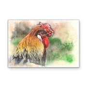 Watercolored Rooster Head Art Print on Wood