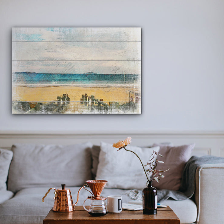 Image of  Watrercolor Walk to Beach Art Print on Wood with Faux Plank Lines