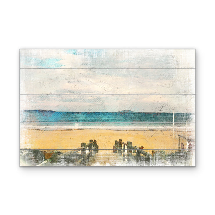 Watercolor Walk to Beach Art Print on Wood with Faux Plank Lines