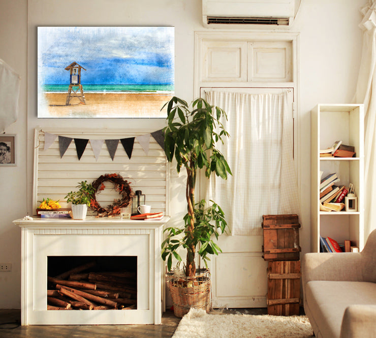 Image of  Pacific Coast Lifeguard Stand in Watercolor Art Print on Wood