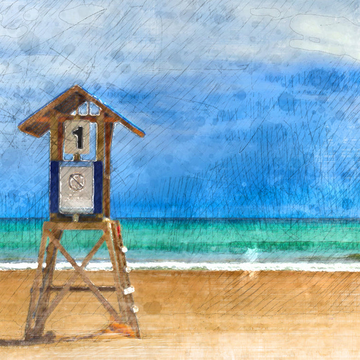 Pacific Coast Lifeguard Stand in Watercolor Art Print on Wood