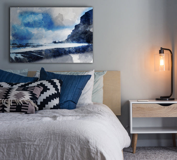 Image of  Blue Lagoon in Watercolor Art Print on Wood