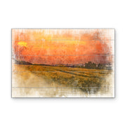 Field of Gold Art Print on Wood with Faux Plank Lines