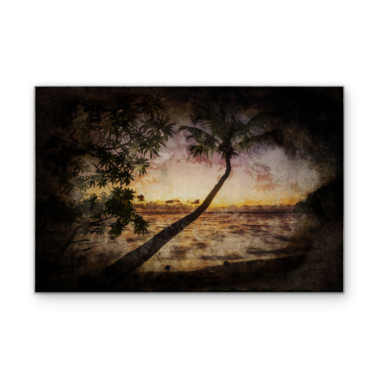 Nightfall in the Palms Art Print on Wood