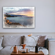 Image of  Distressed Coastline Sunrise Art Print on Wood