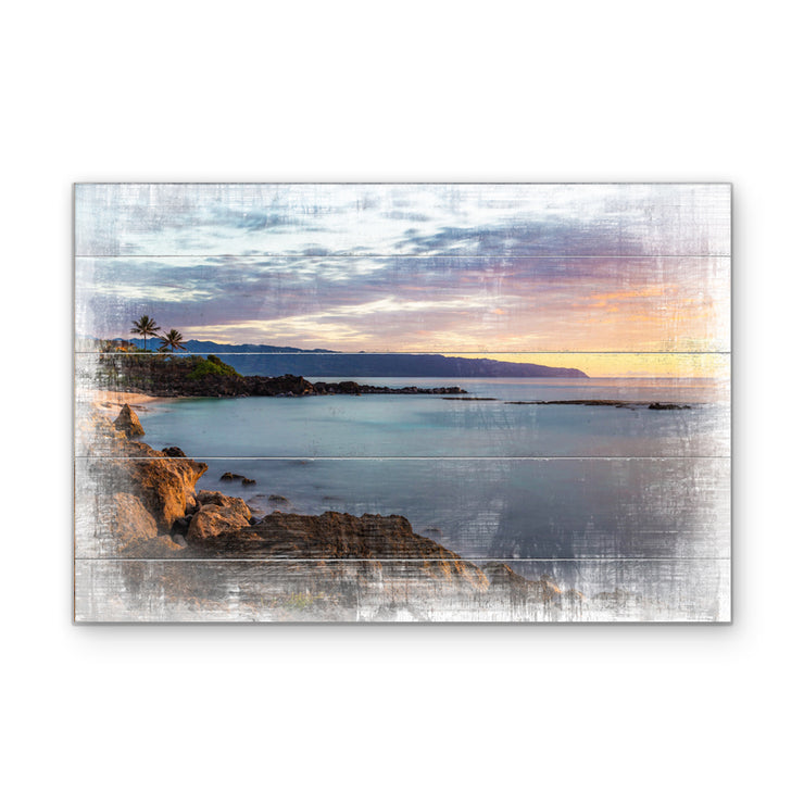 Distressed Coastline Sunrise Art Print on Wood