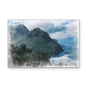 Distressed Rugged Mountain Coastline Art Print on Wood