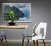 Image of  Distressed Rugged Mountain Coastline Art Print on Wood