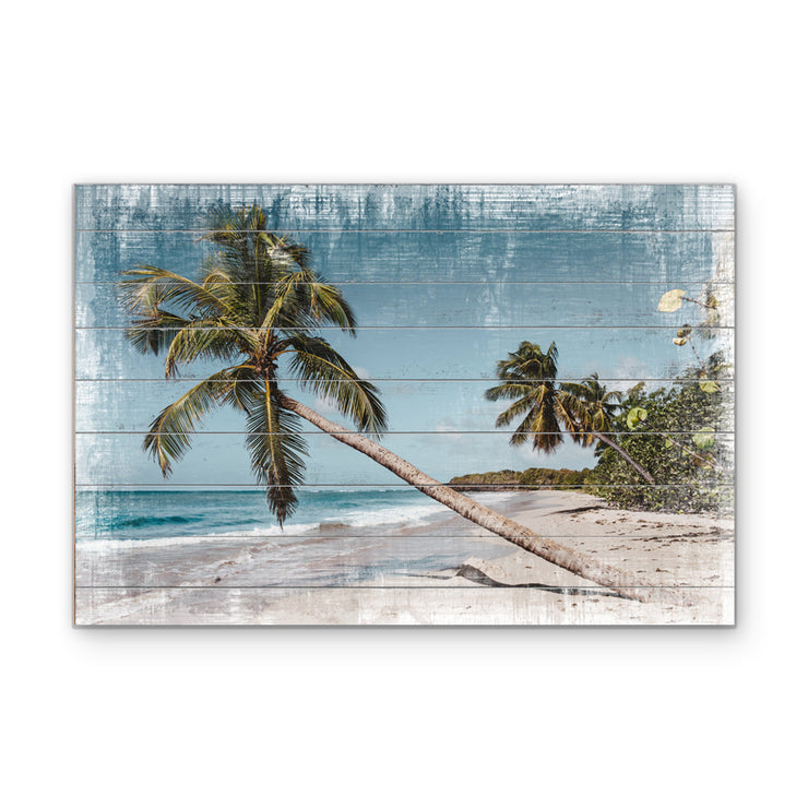 Distressed Beach Photo on Wood with Faux Plank Lines
