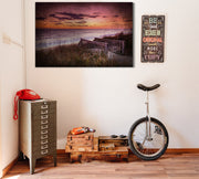 Image of  Distressed Oceanfront Sunset Photo on Wood