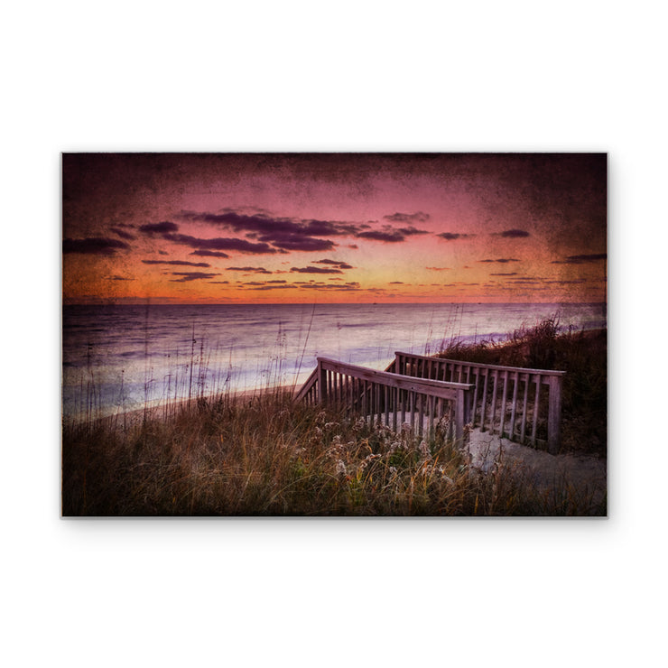 Distressed Oceanfront Sunset Photo on Wood