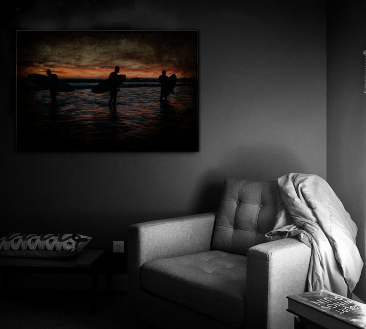 Image of  Vintage Ocean Beach Sunrise Art Print on Wood