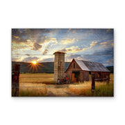 Rustic Barn Sunrise Photo Art Print with Faux Plank Lines