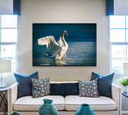 Image of  Distressed Swan Photo Print on Wood with Faux Plank Lines