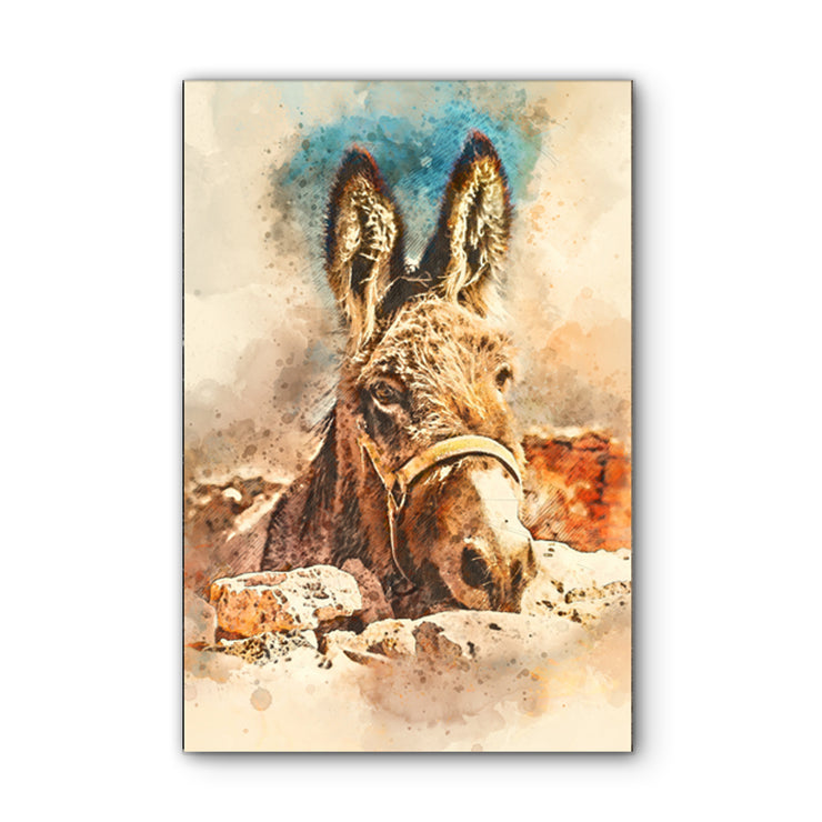 Watercolor Mule Art Print on Wood