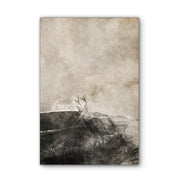 Vintage Buck Deer in Sunrise Art Print on Wood