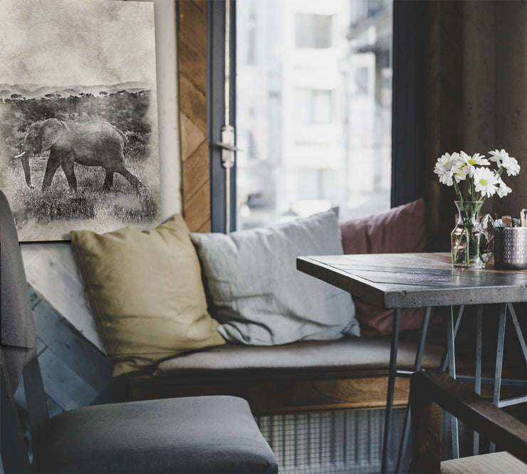 Image of  Distressed Vintage Photo Print of Elephant on Wood