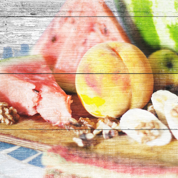 Distressed Summer Fruit Plate Art Print on Wood with Faux Plank Lines