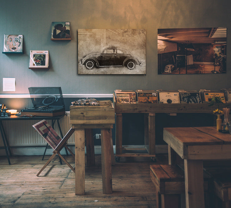 Image of  Vintage Volkswagon Beetle Art Print on Wood