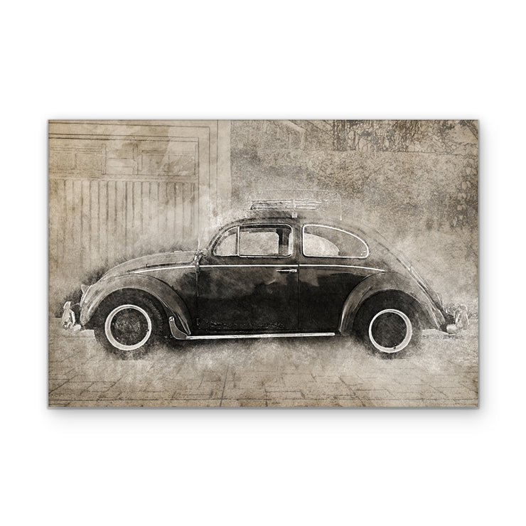 Vintage Volkswagon Beetle Art Print on Wood