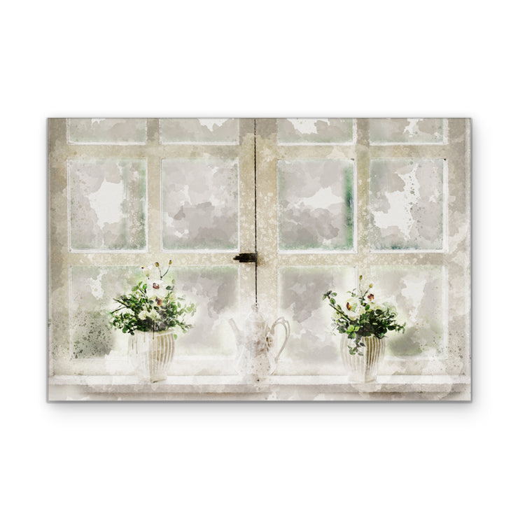 Watercolor Window Art Print on Wood