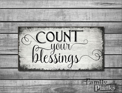 "12""x24""  Count Your Blessings Wood Plank Wall Art GG-46"