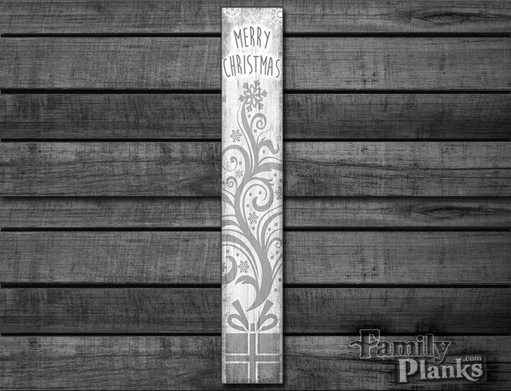 "9.5""x60"" Merry Christmas Silver White Wood Plank Wall Art GG-61"