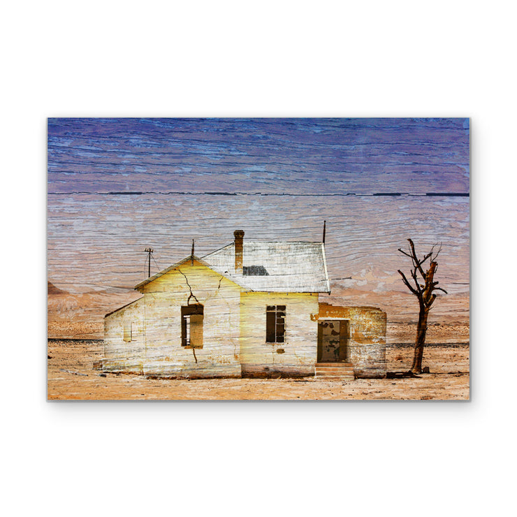 Crumbling Desert Cottage Photo Print Fused into Woodgrain
