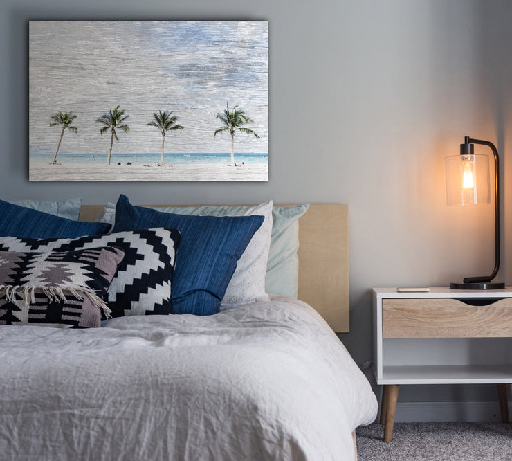 Image of  Palm Trees and Beach Art Print on Wood