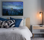 Image of  Blue Mountain Range Fused into Wood Art Print