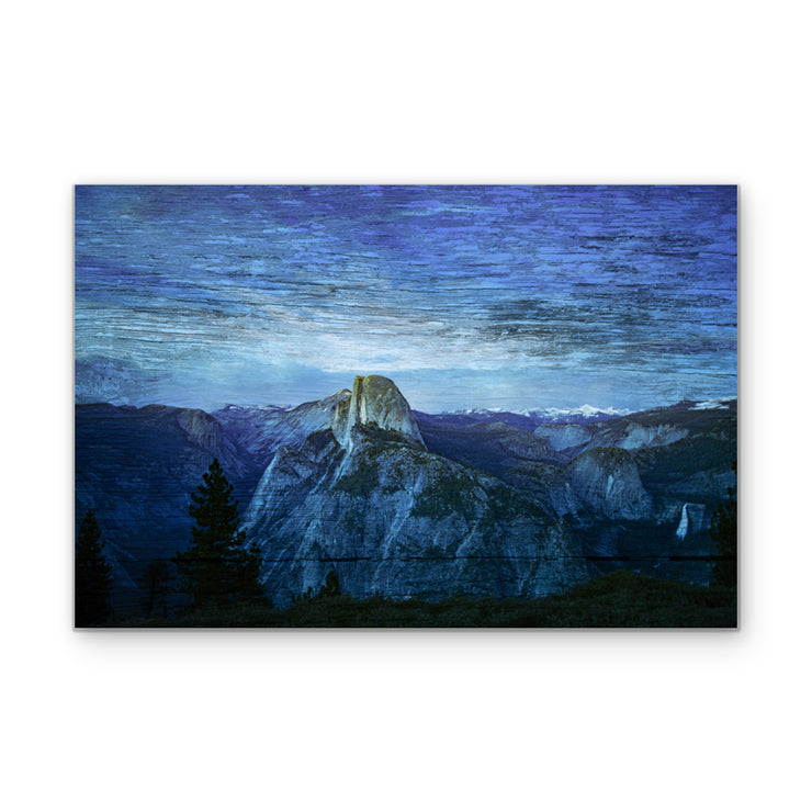 Blue Mountain Range Fused into Wood Art Print
