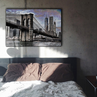 Image of  Brooklyn Bridge Art Print Fused into Wood Grain