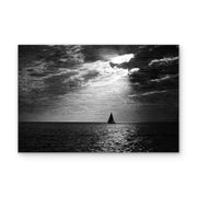 Solitary Sailboat Under a Bright Moon Art Print on Wood