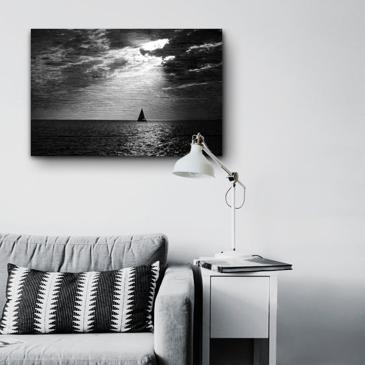 Image of  Solitary Sailboat Under a Bright Moon Art Print on Wood