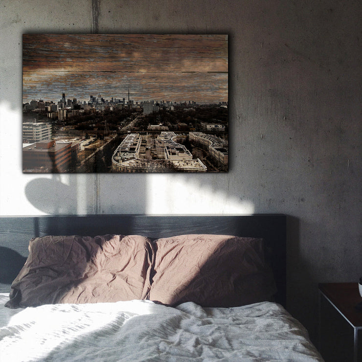 Image of  Toronto Canada Skyline Art Print on Copper Wood Grain
