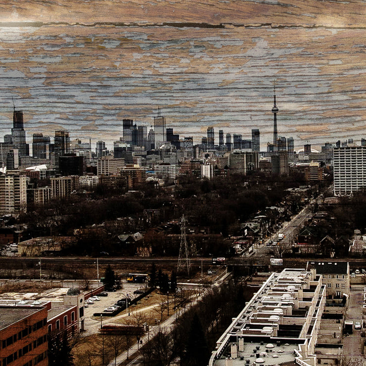 Toronto Canada Skyline Art Print on Copper Woodgrain