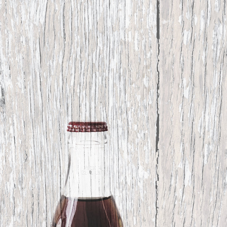 Coke Bottle Fused in Distressed Light Woodgrain Art Print on Wood