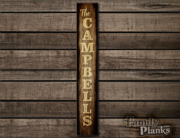 "9.5""x60"" Personalized Family Name Vertical Distressed Wood Plank Wall Art P10A"