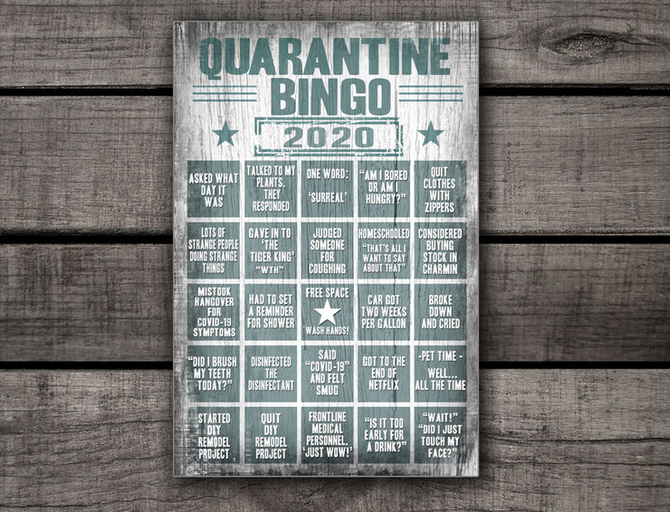 Distressed Quarantine Bingo Wood Sign